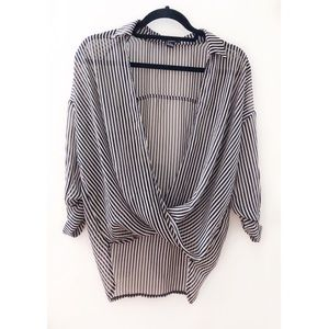 Forever 21 Striped Crossed Chic Blouse